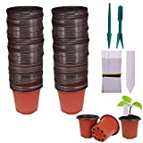 Huvai Plastic Seedlings Plants Nursery Pots with Waterproof Plastic T-Type Plant and 2Pcs/Set Transplanting Digging Mini Tools