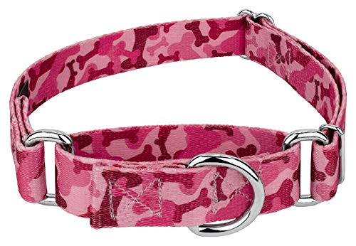 Country Brook Petz Martingale Dog Collar - Military and Camo Collection (Medium 1 Inch Wide, Pink Bone Camo)