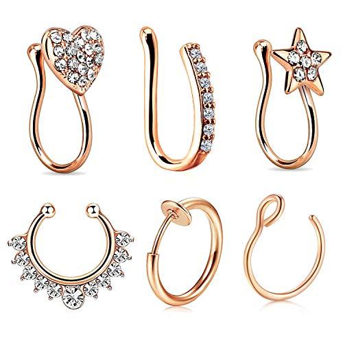 - JFORYOU 6Pcs Nose Rings Fake 16G Stainless Steel Inlaid CZ Faux Piercing Jewelry Fake Nose Ring Spring Clip on Circle Hoop No Pierced Septum Nose Ring Women Men