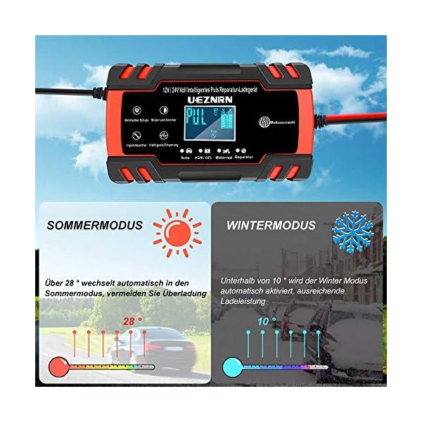51jGYeC0Y7L Ueznirn Ladegerät Autobatterie 12V/24V KFZ Batterieladegerät Vollautomatisches Intelligentes Erhaltungsladegerät mit LCD…