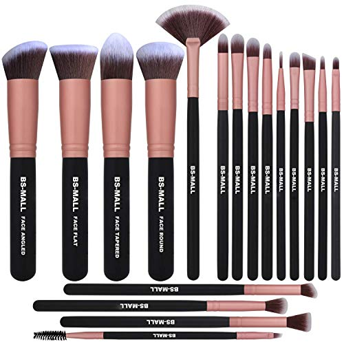 BS-MALL Makeup Brushes Premium Makeup Brush Set Synthetic Kabuki Cosmetics Foundation Blending Blush Eyeliner Face Powder Brush Makeup Brush Kit (18Pcs, Rose)