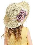 Bienvenu Kids Girl Summer Straw Hat with Flowers Beach Sun Protection Hats,Style2_Beige