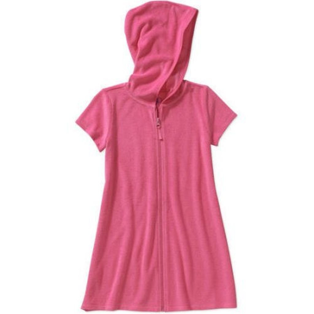 Op Girls Terry Hooded Swimsuit Cover Up (Medium 7-8, Pink Sizzle)