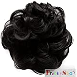 PRETTYSHOP Scrunchie Scrunchy Bun Up Do Hair piece Hair Ribbon Ponytail Extensions Wavy Curly or Messy jet black 1B