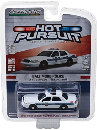 (Baltimore Maryland Police Department BPD Greenlight 42840-D Hot Pursuit Series 27 2008 Ford Crown Victoria Police Interceptor 1:64 Scale Diecast)
