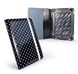 Tuff-Luv Slim Book-Style fabric case cover for Pocketbook 611 & Touch 622 / Bookeen Cybook Odyssey / Trekstor Pyrus 6 eBook eReaders - Black: Polka-Hot