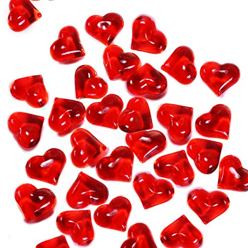Red Gem Heart - LALA IKAI Translucent Red Acrylic Hearts for Vase Fillers Valentine's Day or Vase Fillers, 0.9 Inch (250Pcs)