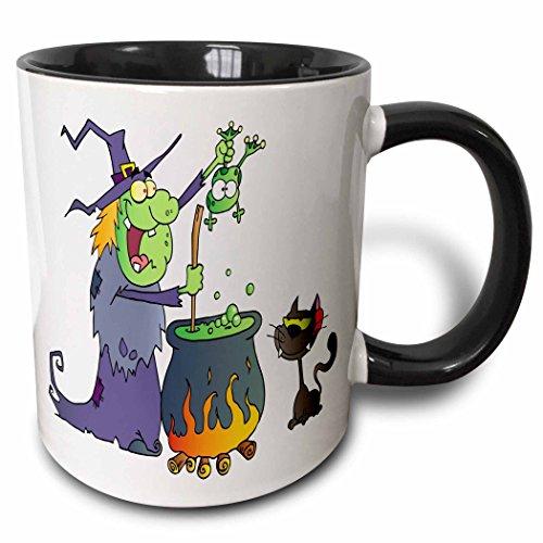 3dRose mug_131384_4 Halloween Witch and Cauldron Two Tone Black Mug, 11 oz, Black/White