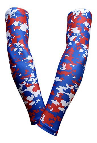 PAIR - Sports Farm - Compression Elbow Arm Sleeves (ADULT LARGE, ROYAL RED DIGI CAMO)