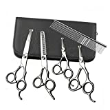 Dog Grooming Scissors Set - 5PCS Safety Round Tip Straight Curved Thinning Shears Comb Kit Set - Stainless Steel Sharp Blades Home DIY Professional Cat Pet Clippers Tools for Small&Medium&Large