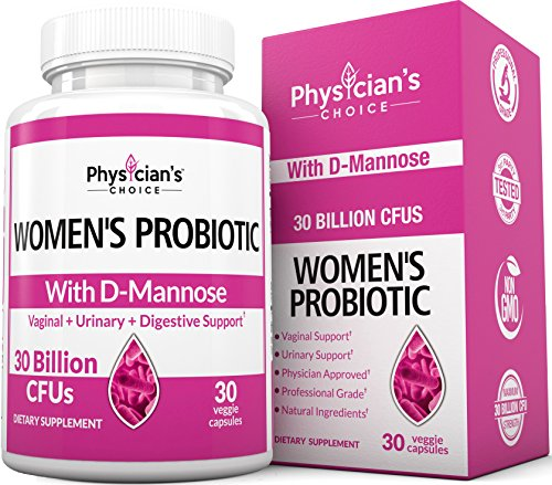 D-Mannose UTI Relief, Treatment, Prevention; Dr Formulated Probiotics for Women 50x More Powerful Than Cranberry Pills, Womens Probiotic Supplement, Yeast and Urinary Tract Infection Pain Relief by PhysiciansChoice