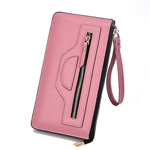JESPER Women RFID Blocking Double Layers Smartphone Wristlet Hard Leather Wallet With Zipper