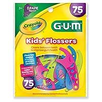 Sunstar 897RZ GUM Crayola Flosser para niños con sabor a uva, 75 unidades