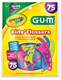 GUM Crayola Kids' Flossers, Grape, Fluoride Coated, Ages 3+, 75 Count