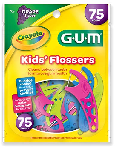 (GUM Crayola Kids' Flossers, Grape, Fluoride Coated, Ages 3+, 75 Count)
