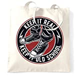 Retro Tote Bag Keep It Real, Keep It Old School Logo White One Size