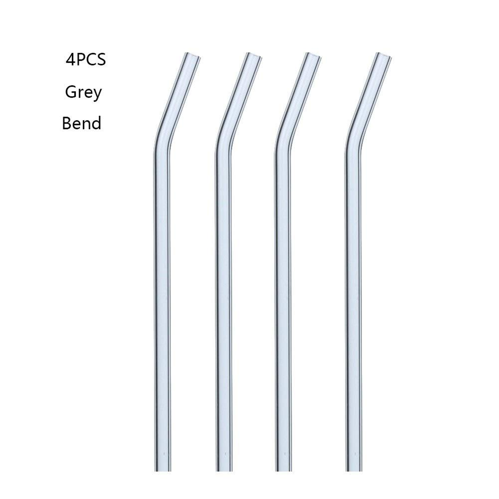 NAYWCXMY-LDL 4PCS Reusable Straight Curved Glass Straw, Straw Brush Party Bar Accessories (Color : Bend gray) by NAYWCXMY-LDL