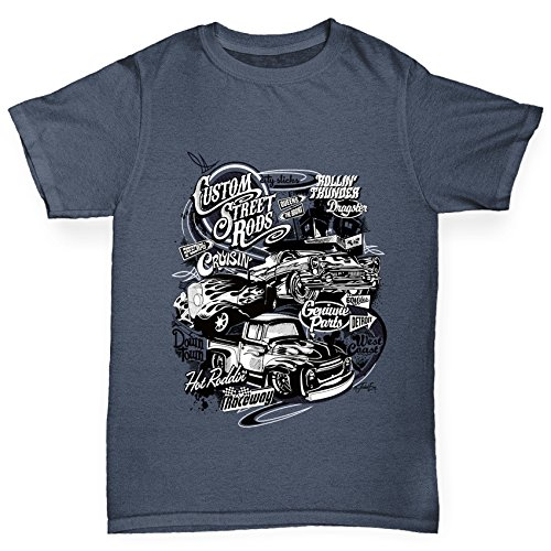 TWISTED ENVY Hot Rod Car Flame Boy's Dark Grey T-Shirt Age 12-14
