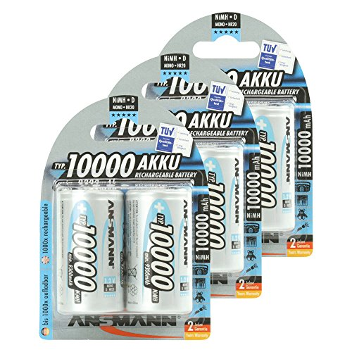 ANSMANN Mono D Akku Typ 10000 (min. 9300mAh) hochkapazitive Profi NiMH Monozelle für Digital Foto Akkubatterie 6er Pack