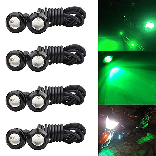 (Sidaqi 8 X Green 18MM Eagle Eye LED Lights High Power 9W Car Motorcycle Light Daytime Running DRL Fog Light Tail Backup Light Marker Lights)