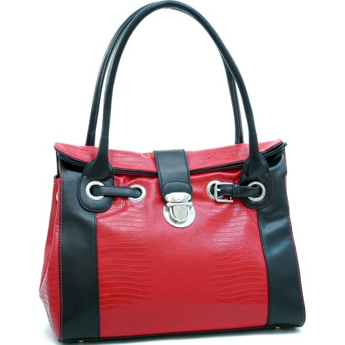 (Dasein Women's Belted Matte Croco Leather Like Texture Shoulder Bag w/Buckle Accent -Red/Black )