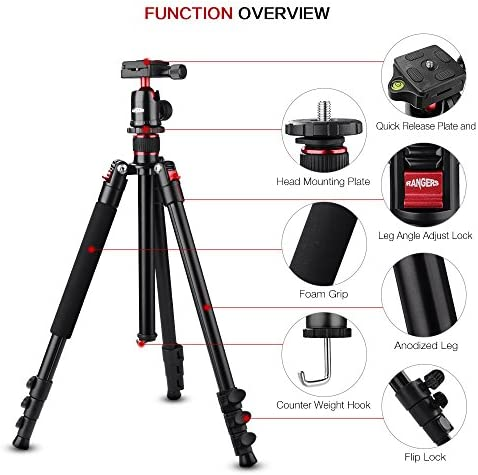 Profession Camera Phone Tripod Photographic Camera Stabilizer for A Variety of Camera,Rosegold Lightweight Aluminum Tripod Monopod