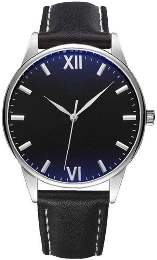 jieerrui Los Hombres De Negocios Estilo Simple Reloj Analógico De Cuarzo Impermeable Reloj con Cuero del Brazalete del Reloj De Pulsera Romana Dial Negro