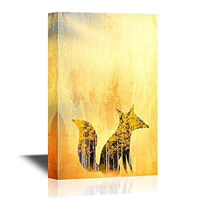 Canvas Wall Art - Double Exposure of Fox in Autumn Forest - Gallery Wrap Modern Home Art | Ready to Hang - 12x18 inches