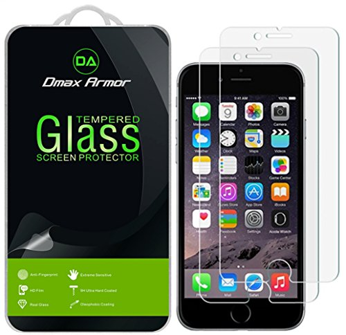 [2-Pack] Dmax Armor for iPhone 8 Plus/iPhone 7 Plus Screen Protector, [Tempered Glass] 9H Hardness, Anti-Scratch, Anti-Fingerprint, Bubble Free, Ultra-Clear