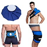 Koo-Care Pain Relief Hot Cold Therapy Reusable Ice Bag Pack & Wrap for Head, Shoulder, Back, Knee etc.(9'', Dark Blue)