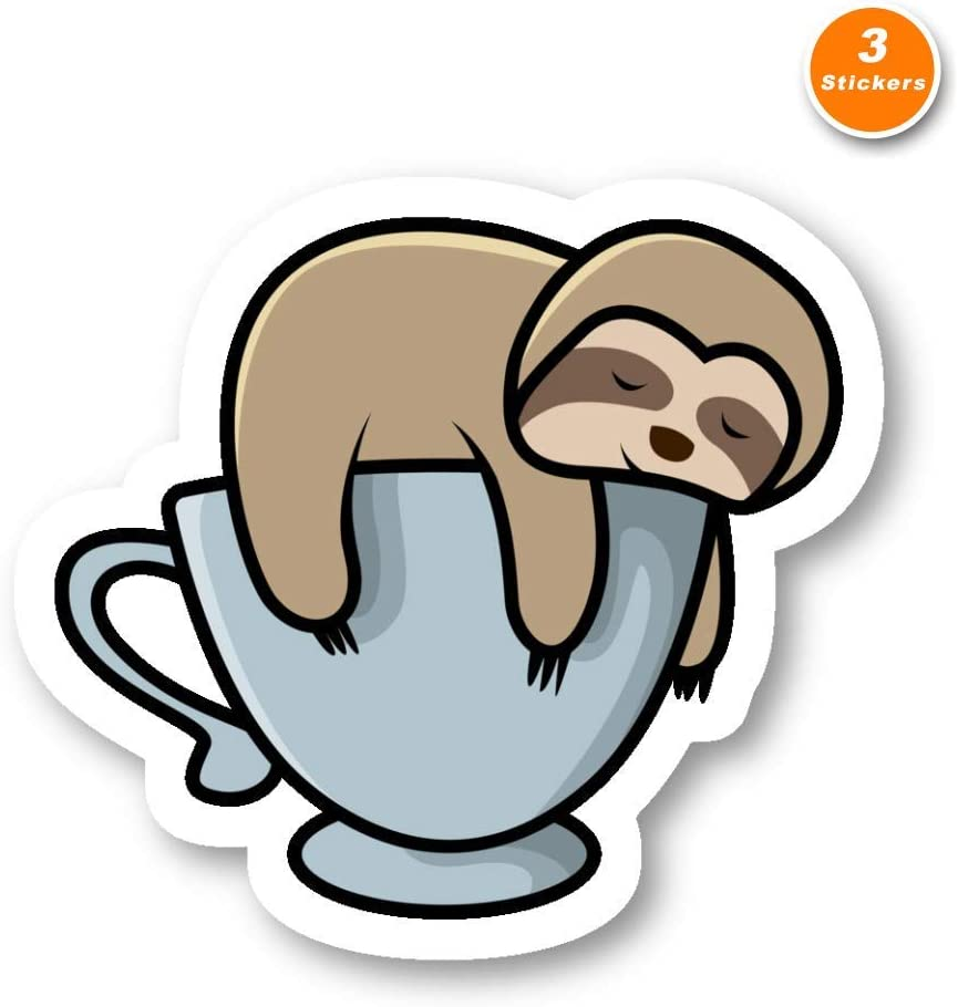 Lazy Sloth Sticker Funny Sloth Stickers - 3 Pack - Set of 2.5, 3 and 4 Inch Laptop Stickers - for Laptop, Phone, Water Bottle (3 Pack) S214439
