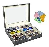 ADTL Sunglass Organizer Eyeglass Storage Boxes Black PU Leather Jewelry Storage 3 Gifts for Free