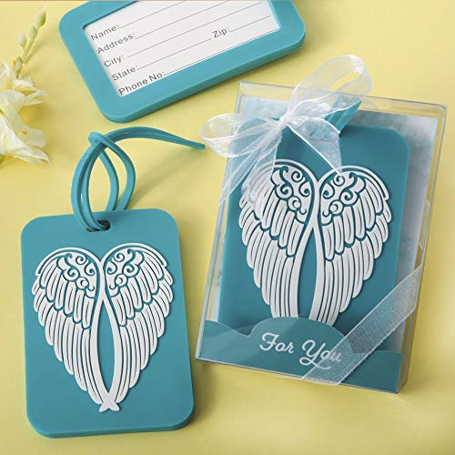 12 Turquoise Angel Wing Design Luggage Tags -