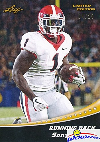 (Sony Michel 2018 Leaf Draft #13 Limited Edition GOLD PARALLEL Sequentially Numbered out of 25 FIRST EVER PRINTED ROOKIE Card MINT New England Patriots! Shipped in Ultra Pro Top Loader to Protect It!)