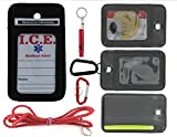 EDOG Medical Alert Travel & Everyday Wear I.C.E. Neck Wallet | Lanyard | Carabiner | I.C.E. Cards | Diabetes | Heart | Health | Allergy | Leather | Emergency Contacts | Medical Condition | Medications
