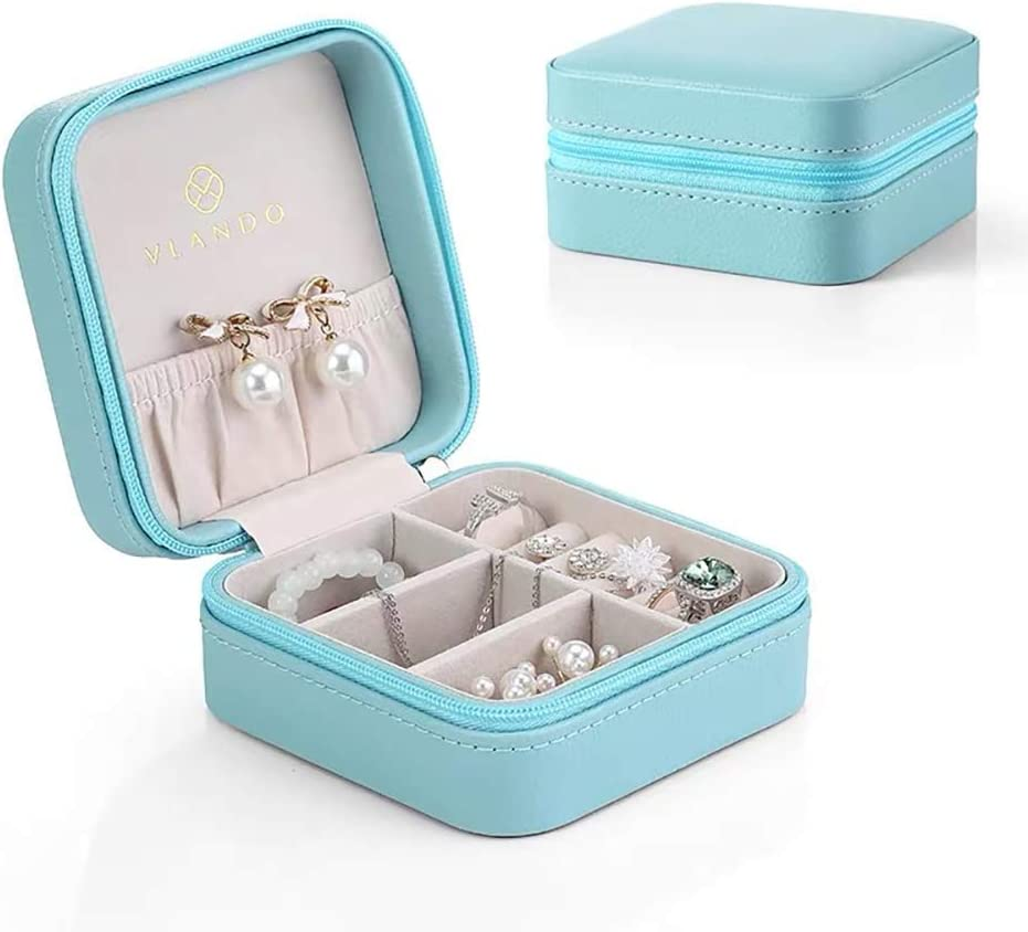 Travel Storage Case for Rings and Earrings Vlando Macaron Small Jewelry Box Pink