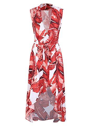 BerryGo Women's Boho Sleeveless V Neck High Low Wrap Dress Beach Red Leaf (Red Leaf Print)