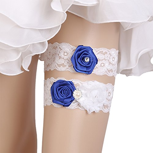 Wedding Lace Garter Set Vintage Inspired Handcrafted Royal Blue Flower With Pearl