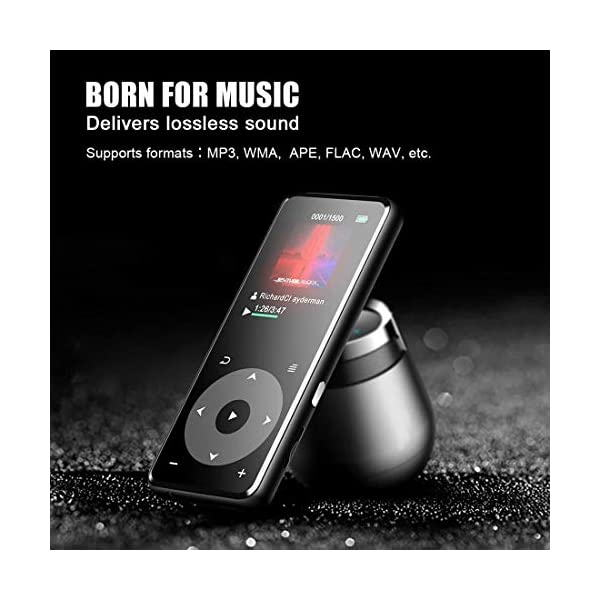 MP3 Player with Bluetooth 4.0, Portable HiFi Lossless Sound MP3 Music Player with FM Radio Voice Recorder E-Book 2.4'' Screen, Support up to 128GB (Headphone, Sport Armband 5