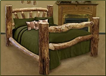 Queen Size Custom Aspen Log Bed Amazoncouk Kitchen Home