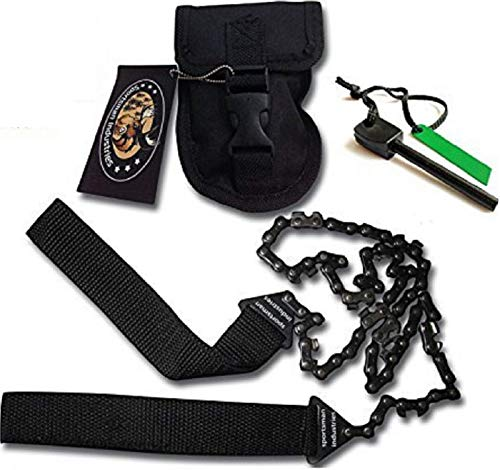 Sportsman Pocket Chainsaw 36 Inch Long Chain & FREE Fire Starter Best Compact Folding Hand Saw Tool for Survival Gear, Camping, Hunting, Tree Cutting or Emergency Kit. Replaces Your Pruning ()