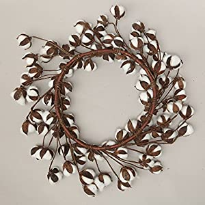 """keebgyy Cotton Wreath, 12""""- 24"""" 80 Petals Natural Real White Dry Cotton Flowers Branch Vintage Decorative Bundle, for Festival Front Door Hanging Decorations 3"""
