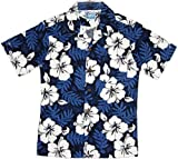 RJC Boys White Hibiscus Fern Shirt in Blue 6