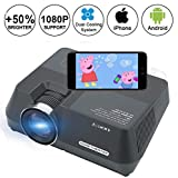 Mini Projector, Smartphone Projector via Wired USB Data Cable, Home Theater Video Projector Support 1080P HDMI USB AV SD VGA iPhone&iPad plug and play, LED Data Projector 1600Lumens Max 150""