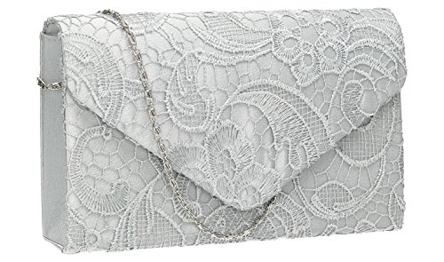Party Bridal Holly Prom Womens Silver Envelope Clutch Blue Bag Wedding Lace Navy WZytrtn6R