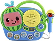 eKids Cocomelon Toy Singalong Boombox with Microphone for Toddlers, Built-in Music and Flashing Lights, for Fa
