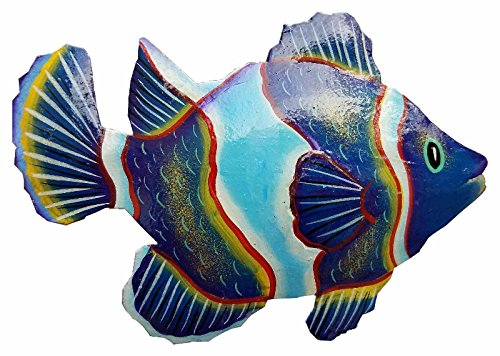 Hand Painted Metal Art (Hand-chiseled and Painted Tropical Metal Art Wall Decor Fish)