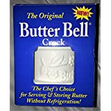 Butter Bell Classic White Raised Floral Crock