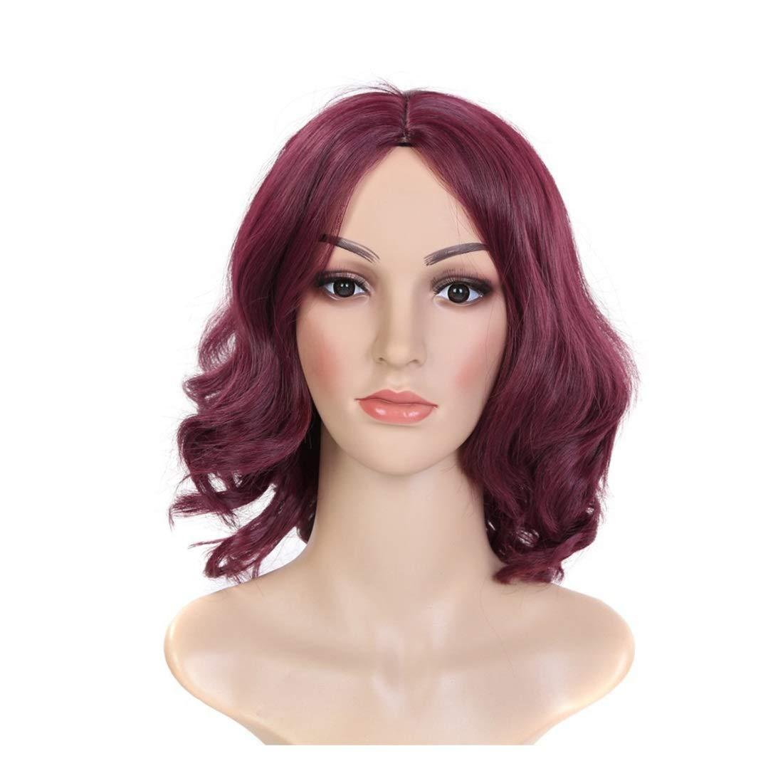 WEATLY Weinrot Temperament Split Perücke Kopfbedeckungen rasierte Gesicht Kurze lockige Haare Perücke für Frauen (Farbe   rot Wine) B07HP1B9D5 Perücken & Haarteile für Erwachsene Zart | Zuverlässiger Ruf