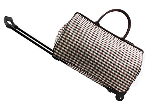 SENLI 20inch Luggage Rolling Duffle trolley travel bag tote Carry-On with grey grid printed for Women Short Term Trips Weekend Excursion - Excursion Travel Luggage